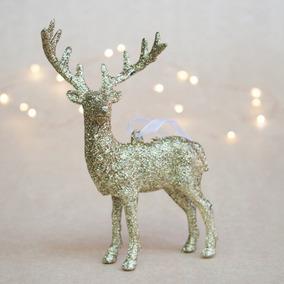 Adorno Ciervo Dorado X 1 Reno De Navidad Gibré