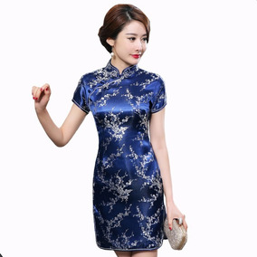 Vestido Chino Estilo Cheongsam / Qipao Corto Azúl Con Plata
