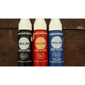 Tinta Roll On Color Negro Azul Y Roja