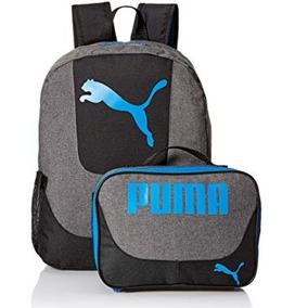 Mochila Y Lonchera Puma Para Hombre Gris Y Azul Escolar 39cm