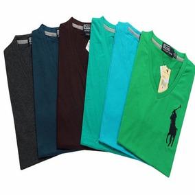 Kit C/5 Un Blusas Camisetas Gola V Masculinas Basicas Barata