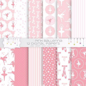 Kit Imprimible Bailarina Pink - 12 Fondos Ver Promo