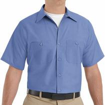 Camisa Industrial Red Kap De Manga Corta De Uso Rudo En Azul