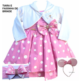 Vestido Infantil Festa Minnie Rosa Luxo E Bolero E Faixa