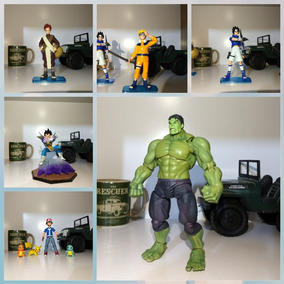Kit Action Figures Hulk / Vegeta / Pokemon / 3 Peças Naruto.