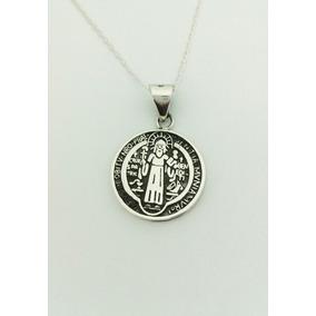 Hermosa Medalla De San Benito Hecho De Plata Incluye Cadena