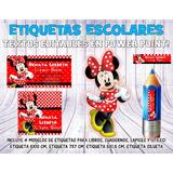 Kit Imprimible Etiquetas Escolares Minnie Mouse Roja