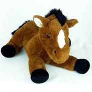 Cavalo De Pelúcia Deitado Marrom 40cm Fazenda Fazendinha