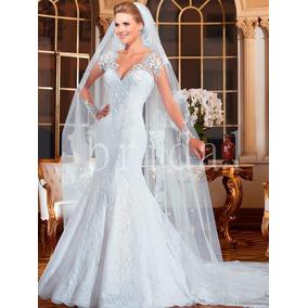 Vestido De Noiva Sereia Renda Manga Longa