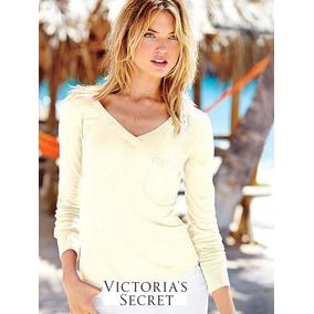 Victoria Secret Sweater L Blanco Cuello V Divino! Nuevo