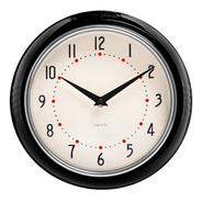 Reloj De Pared Negro Retro Marco Metal
