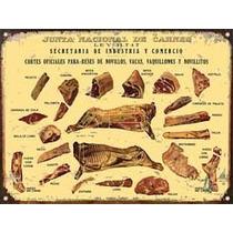 Cartel Chapa Publicidades Antiguas Cortes Vacunos Carne L359