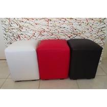 Kit 03 Puffs Quadrados Em Corino 42x34x34x34 Colorido