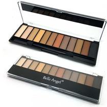 Estojo Maquiagem Completo Kit 12 Sombras 3d Opacas + Pincel