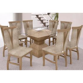 Conjunto Leke Base P/ Mesa De Jantar C/ 8 Cadeiras Estofadas