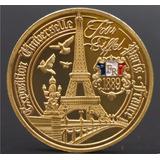 Moneda Conmemorativa París Torre Eiffel Baño Oro 32 Mm