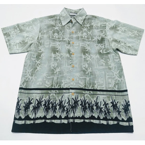 Camisa Hawaiana Palmeras Talle S Gris