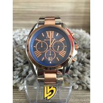 Relógio Michael Kors Mk5606 Azul Prata Rose Pronta Entrega