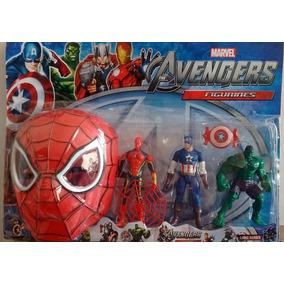 Kit Bonecos Os Vingadores C/ Mascara Homem Aranha Marvel