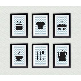 Kit Com Seis Quadros Decorativos Cozinha + Moldura Laqueada