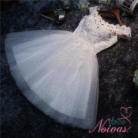 Vestido Noiva Debutante Curto Alça Ombro Off White