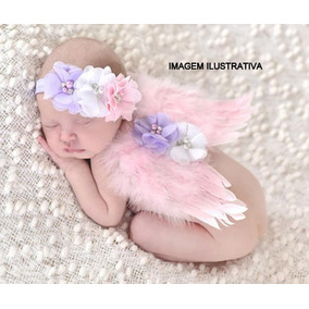 Asa Anjo Rosa Bebê Fantasia Fotografia Estudio Newborn