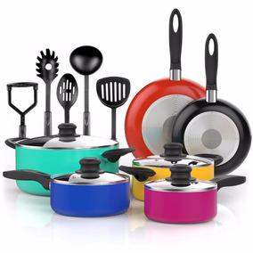 Set De Sartenes De Ceramica Palas 15 Piezas Cocina Colores