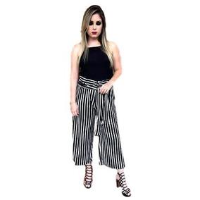 Calça Pantacourt Pantalona Listrada Ou Preta Lisa Ref 092