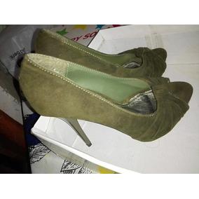 Zapatos Tacones Altos Verde Oliva Talla 36, Con Plataforma