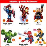 05 Adesivos Super Heróis Marvel Kids Mais Nome De Brinde