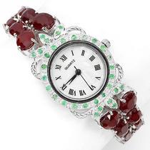 Relógio Feminino Prata 925 Rodinada Rubis E Esmeraldas