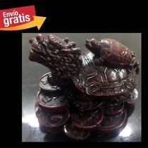 Tortuga Con Cabeza De Dragón Chino Amuleto Fortuna Feng Shui