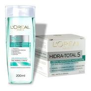 Loción Tonificante Facial + Crema Matificante Loreal Hidra Total 5