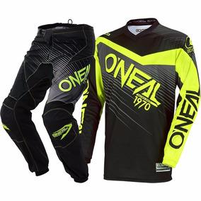 Kit Pantalón Y Jersey Motocross Oneal Racewear Negro Hiviz