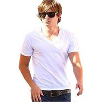 Camiseta Branca Lisa 100% Algodão Gola O Ou V