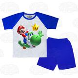 Pijama Infantil Curto & Yoshi Mario Conjunto De Verão Barato