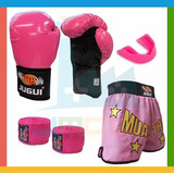 Kit Combat Girl Luva + Bandagem + Bucal + Shorts Feminino