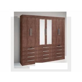 Guarda-roupa Mônaco Com Espelho, 6 Portas,12 Gavet - D