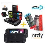 Kit 3-1 Estuche Funda Nintendo Switch + Vidrio Templado 9h 0.24mm Premiun Orzly Original + Siliconas Joy-con Protector