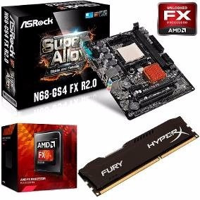 Kit Upgrade Gamer Placa Mãe Am3+ Fx 8350+ 4gb Ddr3+ Hd5450