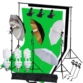 Estudio Fotografía Kit Bombilla 3 Paraguas 3 Fondo De