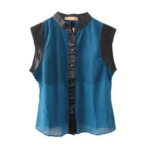 Camisa De Gasa Plisada Y Raso. Azul. Nueva