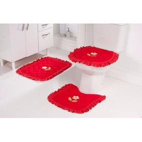 2 Jogo Piso De Banheiro 3 Peças Atoalhado Bordado Vermelho