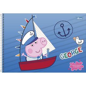 2 Caderno Espiral Peppa Pig Cartografia Desenho Capa Dura 80