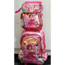 Kit Mochila Infantil Escolar Feminina Princesas Yris P/7 Ano