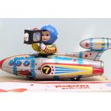 Nave Espacial De Lata Na Caixa Foguete Lindo Decorativo