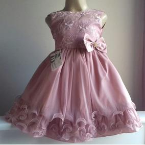 Vestido Infantil Rosê Com Babados E Renda Menina Bonita