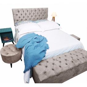 Cabeceira Estofada Capitone P/cama Box + Peseira Bau Casal