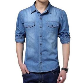 Camisa Jeans Masculina Casual Slim Justa Social Tradicional