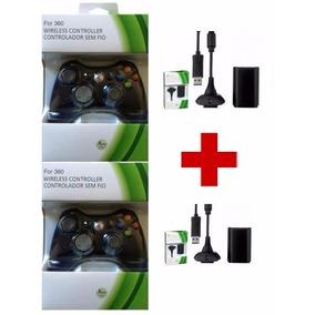 2 Controles Xbox 360 Sem Fio + 2 Carregadores + 2 Baterias